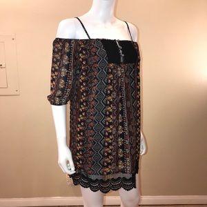 Full Tilt Cold Shoulder Mini Dress Black Lace Trim